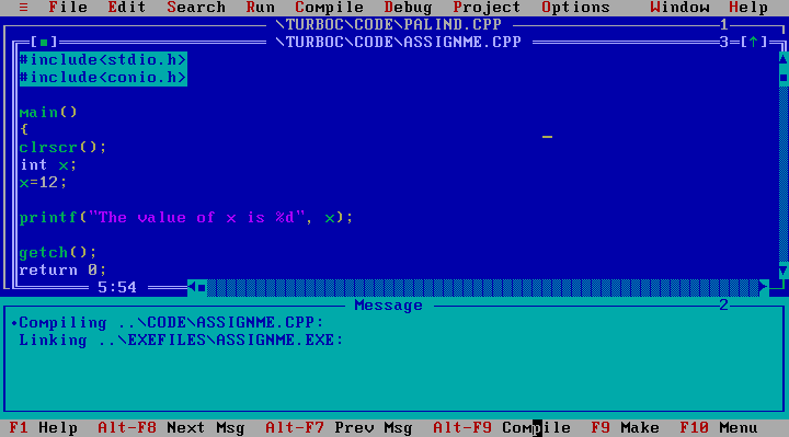 Turbo C++ running in DOS